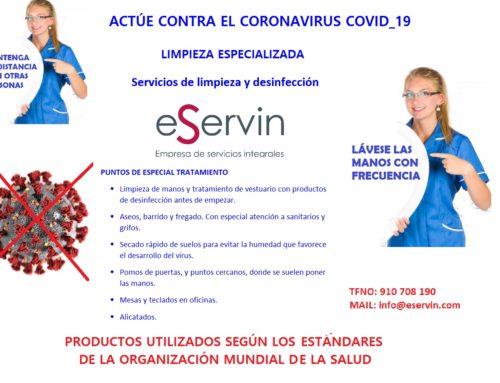Limpieza de prevención contra el coronavirus